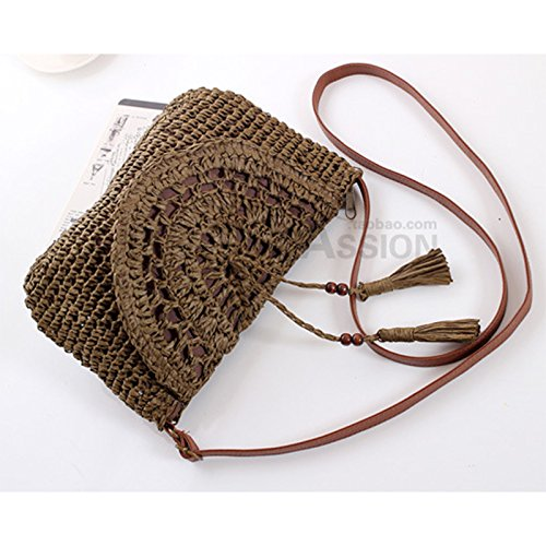 for for and Use Tonpot Bag Beach Beige 1 Bag Travel Shoulder Pcs Women Girls Ladies Bag Straw Everyday Summer Beach Womens qv1awqO