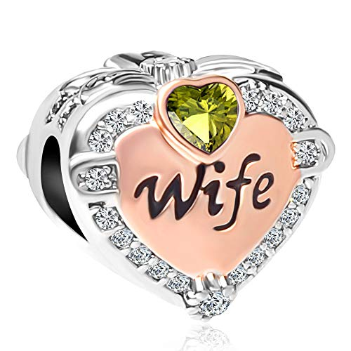 CharmSStory Heart Wife Charms Rose Gold Birthday Love Beads for Bracelets & Necklaces (Green)