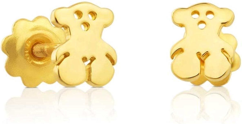 TOUS Pendientes Bear de niña y baby en oro amarillo de 18kt con cierre rosca , Tamaño 0,5 cm