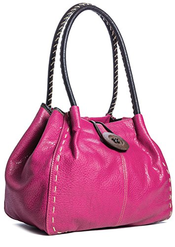Big Handbag Shop Trendy Designer Boutique Faux Leather Large Button Detail Shoulder Bag with Dust Bag (Pink)
