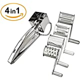 Rotary Cheese Grater, Romote Multipurpose Stainless Steel Cutter Grinder with 4 Interchangeable Drum Blades