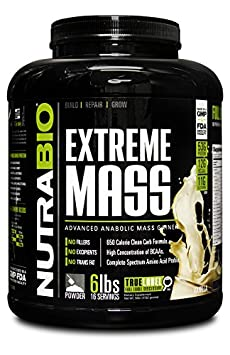 NutraBio Extreme Mass Weight Gainer – 6 lbs Vanilla by NutraBio