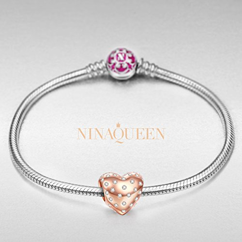 "Best Gift for Her, NinaQueen ""Sweetest Love"" 925 Sterling Silver Rose Gold Bead Charms with Premium Cubic Zirconia"