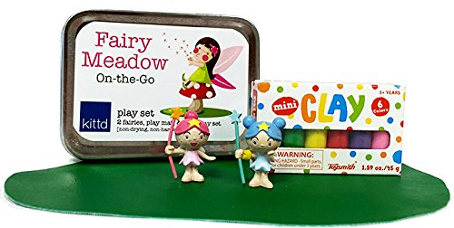 kittd - Fairy Meadow On-The-Go Travel Play Set - Portable, Pocketable, and Playful - Includes Mini Clay, 2 Assorted Fairies, and Play Mat - Perfect for Trips, Events, and More! -