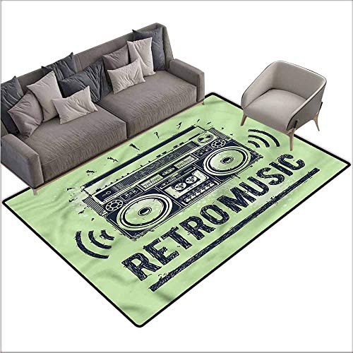 Garden Music Oriental Box - Rug Bathroom Mat 90s,Hand-Drawn Retro Music Boombox 48