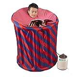 Bathtub ZI LIN SHOP- Inflatable Steaming Box Sauna Fumigation Barrel Folding Steam Sauna Home Sweat Steaming Machine(90x110cm)