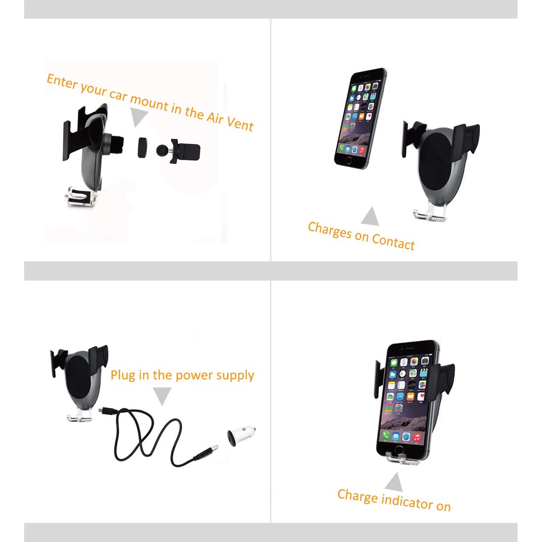 Gravity Car Mount Air Vent Phone Holder Optimize Heat Dissipation for iPhone X//8//8 Plus Samsung Galaxy S8//S8 Plus,//S7//S7 Edge//S6 Edge Plus T-Tech-Electronic Fast Wireless Car Charger 10W