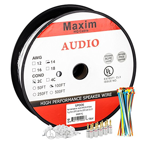 Maximm In Wall Speaker Wire - 100 Feet - 14AWG CL3 Rated 2-Conductor Wire - White , Pure Copper - Banana plugs, Cable clips and ties - Cable Speaker Wire