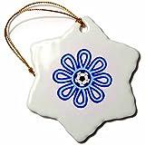 3dRose orn_16673_1 Soccer Flower Blue Porcelain Snowflake Ornament, 3-Inch