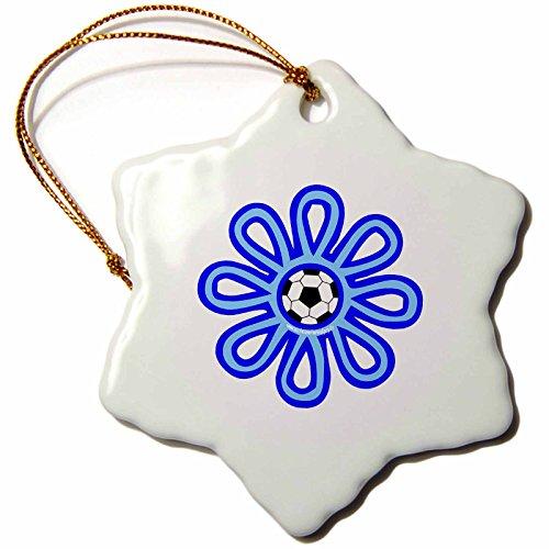3dRose orn_16673_1 Soccer Flower Blue Porcelain Snowflake Ornament, 3-Inch by 3dRose