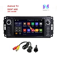 "MCWAUTO Android 7.1 Car Stereo GPS DVD Player for Dodge Ram Challenger Jeep Wrangler JK Head Unit Single Din 6.2"" Touch Screen Indash Radio Receiver with Navigation Bluetooth/3G/Rear Camera"