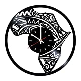 Map of Africa Handmade Vinyl Record Wall Clock - Living room wall decor - Gift ideas for friends, mother and father – Unique Art Design