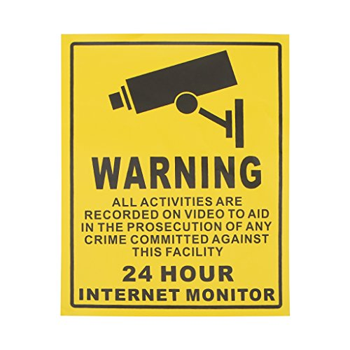 HittecH CCTV Surveillance Security 24 Hour Monitor Camera Warning Stickers Sign ()