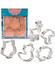 Woodland Cookie Cutters - 5 Piece Boxed Set - Cute Fox, Cute Owl, Deer/Fawn, Mushroom, Hedgehog - Ann Clark - US Tin Plated Steel