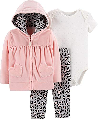 Carter's Baby Girls' 3-Piece Little Jacket Sets (Pink/Cheetah, 9 - Piece 3 Embroidered Leggings