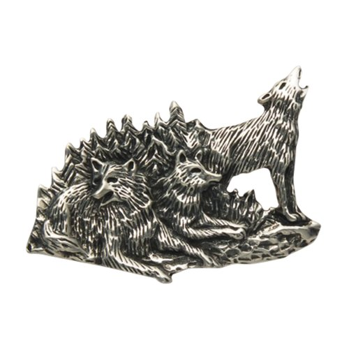 (Wild Things Sterling Silver Wolf Pack Pin)
