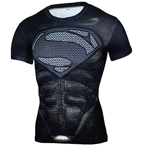 PKAWAY Mens Short Sleeve Black Compression Shirt for Running Costume Shirt 4XL]()