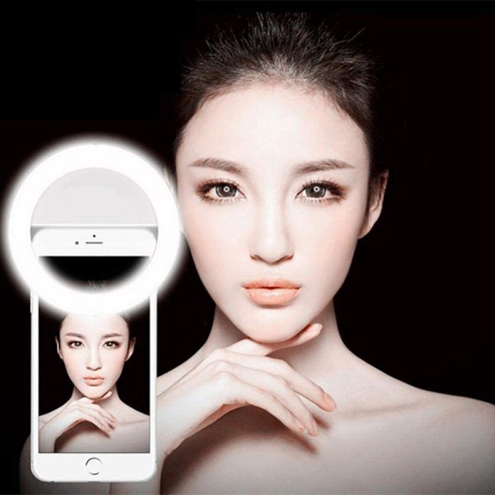 Anillo De Luz Selfie Portable Led Selfie Light Ring Flash Lumiere USB Led Tel/éfono M/óvil Light Clip Lamp Ring para iPhone Samsung Iluminaci/ón Nocturna-Rosado