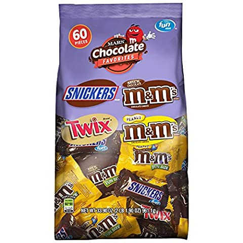 MARS Chocolate Favorites Fun Size Candy Bars Variety Mix 33.9-Ounce 60-Piece Bag - Fall Assorted Chocolates