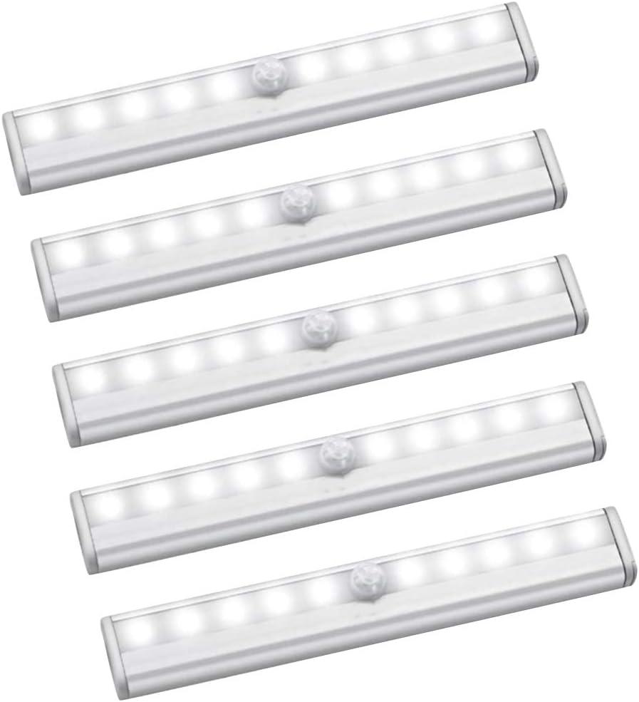 Cobeky Luz de sensor de movimiento, 10 luces LED con batería, funciona magnéticamente, para debajo del gabinete, para mostrador, escalera, paquete de 5