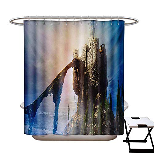 BlountDecor Medieval Shower Curtain Collection by Old Ancient Fantastic Castle on The Hill Legendary Royal Stories of Middle Age Mist Patterned Shower Curtain W36 x L72 Grey Blue ()