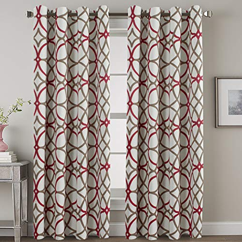 Blackout Curtain Panels 84 for Living Room/Bedroom - Functional Geo Trellis Window Treatment Thermal Insulated Grommet Curtains Draperies, Noise Reducing Drapes (2 Panels, Taupe & Red)
