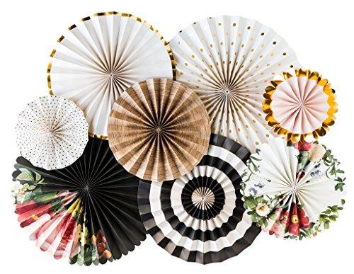 Flower Wall Fan (My Mind's Eye Botanical Double Sided Party Fans, BTP401 Set of 8 Fans)