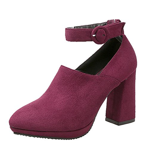 Mee Shoes Women's Fashion Block Heel Pointed Toe Ankle Strap Buckle Court Shoes Wine Red wVGt926