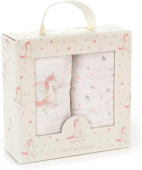 Jellycat - Set de Muselinas de Unicornios y Estrellas para Bebe de Algodón 70 x 70 cm: Amazon.es: Bebé