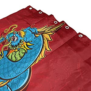 Chinese Dragon Shower Curtains 60 x 72 inch Polyester Fabric Bathroom Curtain Set with Mats Rugs 23.6 x 15.7 inch-12 Hooks
