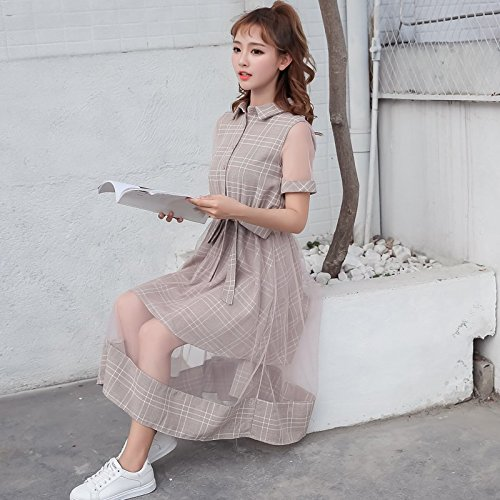 MiGMV?Premier Amour Robes Robe Retro Robe Longue Jupe Robe Grille,M,Manches Courtes - (Rose)