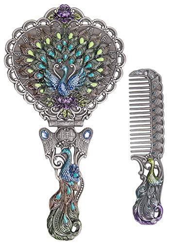 Nerien Vintage Peacock Metal Mirror Comb Set Antique Heart-Shaped Handheld Vanity Mirror Comb Set Antique Pewter