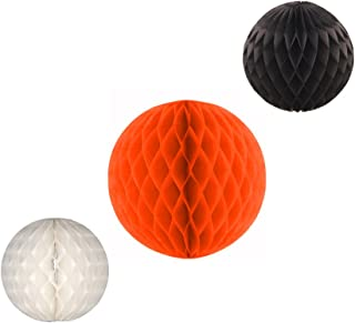 product image for Honeycomb Balls, Set of 3, 12 inch and 8 inches (Halloween - Orange/Black/White)