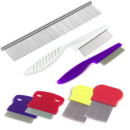 Head Lice Comb - TuNan 7 Pcs Pet Dog Grooming Comb, Metal Head Lice Comb for Long Hair, Dog Tear Stain Remover Combs, Flea Combs Nit Remover for Dogs Cats, Pet Grooming Tool Removes Crust, Mucus and Stains - 5 Types