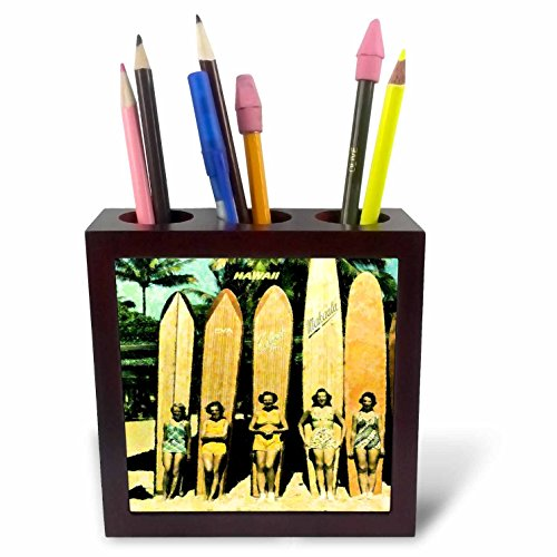 3dRose ph_46610_1 5 Vintage Ladies in Hawaii with Surf Boards Tile Pen Holder, 5'' by 3dRose