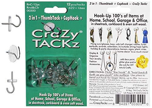 CraZy TACKz Push pin Hook.5 x .5 x 1.125, Clear, (Packaging May Vary)