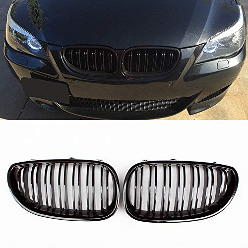 (Fandixin E60 Grille, ABS Front Kidney Grill for BMW 5 Series E60 E61 Gloss Black)