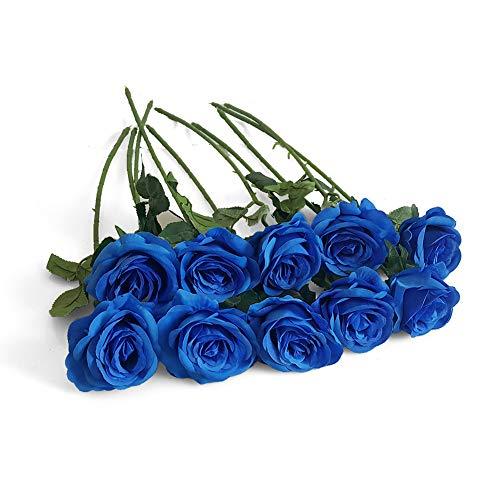 Eternal Blossom 10pcs Artificial Rose Silk Flower 50cm Fake Rose Blossom Bridal Bouquet for Home Wedding Decor (Blue)