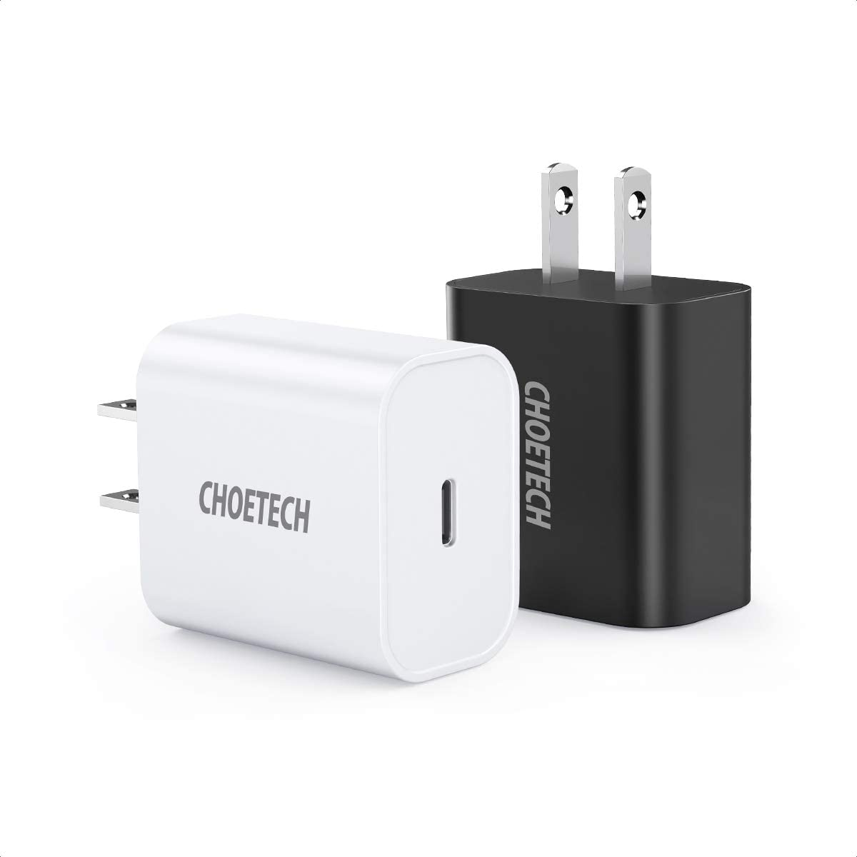 CHOETECH USB C Charger(2-Pack) for iPhone 12/12 Mini/12 Pro Max, 18W Fast Charger USB C Power Delivery Wall Charger for iPhone 11 Pro Max/SE/ XS/XR, iPad Pro, Galaxy S20 Ultra/S20, Google Pixel 4/3XL