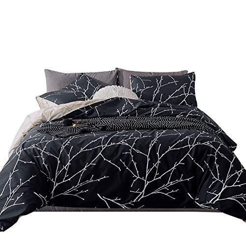 - SUSYBAO 3 Pieces Plum Print Duvet Cover Set 100% Cotton King Size Black and White Reversible Branch Bedding Set with Zipper Ties 1 Duvet Cover 2 Pillowcases Luxury Quality Soft Breathable Lightweight