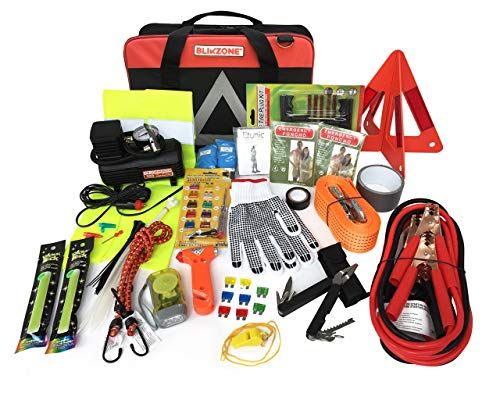 BLIKZONE Auto Roadside Assistance Car Kit Classic 81 Pc for Vehicle Emergency: Portable Air Compressor, Jumper Cables, Tire Repair Kit and All The Essential Tools, Accessories and Stuff to Drive Safe