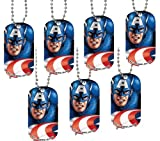 Stainless Steel Marvel Comics Dog Tag necklace - Captain America ( Set of one ~ complete with Ball chain measuring 21 inches long)