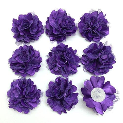(PEPPERLONELY 10PC Set Purple Lace Chiffon Peony Fabric Flowers, 2 Inch)