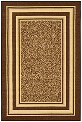 "Ottohome Collection Brown Color Contemporary Bordered Design Area Rug With Non-Skid (Non-Slip) Rubber Backing (3'3""X5'0"") by Ottomanson"