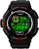 Fanmis S-Shock Multi Function Digital LED Quartz Watch Water Resistant Electronic Sport Watches Orange