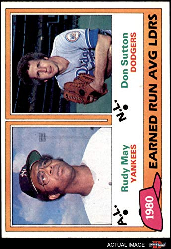 (1981 Topps # 7 Strike Out Leaders Rudy May/Don Sutton Yankees/Dodgers (Baseball Card) Dean's Cards 7 - NM Yankees/Dodgers)