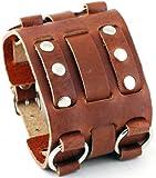 Nemesis #WB-B Wide Brown Leather Tri Clasp Cuff Wrist Watch Band