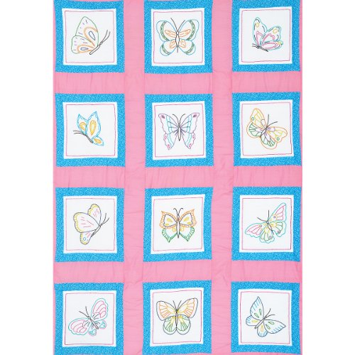 Jack Dempsey Themed Stamped White Quilt Blocks, 9-Inch by 9-Inch, Butterflies, ()