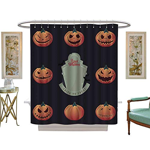 Iuvolux Fabric Shower Curtain Halloween Pumpkin Carving and Creepy Tombstone Vector Mildew Resistant Waterproof Standard Shower W66 x H72 Inch ()