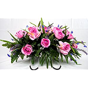 Spring Cemetery Flowers for Headstone and Grave Decoration-Pink Rose with Purple Accent Mix Saddle 24